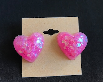 Pink Heart Glitter Resin Stud Earrings Handmade One of a Kind