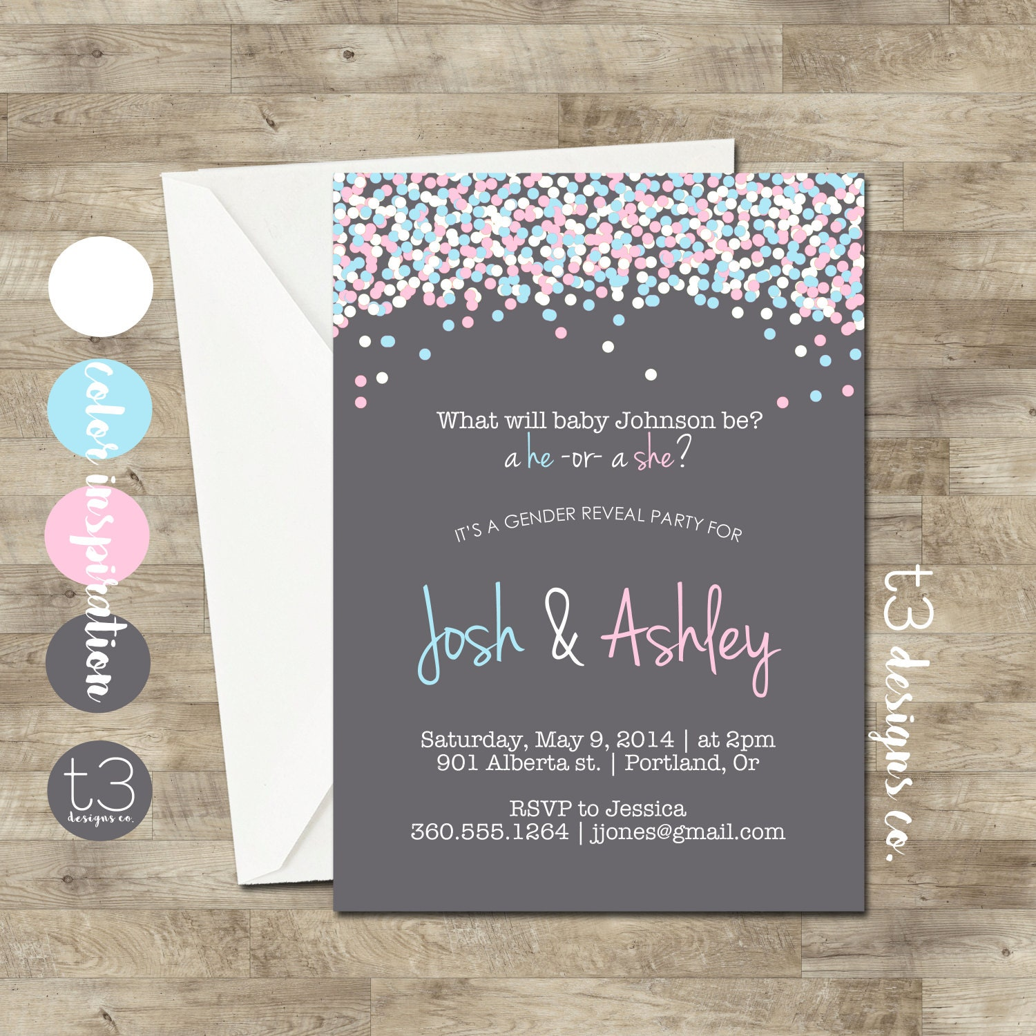 Instant Download GENDER REVEAL Invitation diy pdf Confetti Gender
