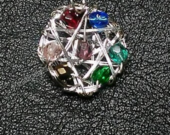 Charka balancing Star wire wrapped Czech crystal bead sterling silver pendant