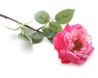 Fully Bloomed Pink Rose - Long Stem Gorgeous Real Touch Rose - Artificial Flowers, Silk Roses
