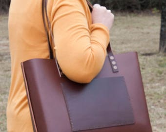 Cheryl - Large Leather Tote (Brown)