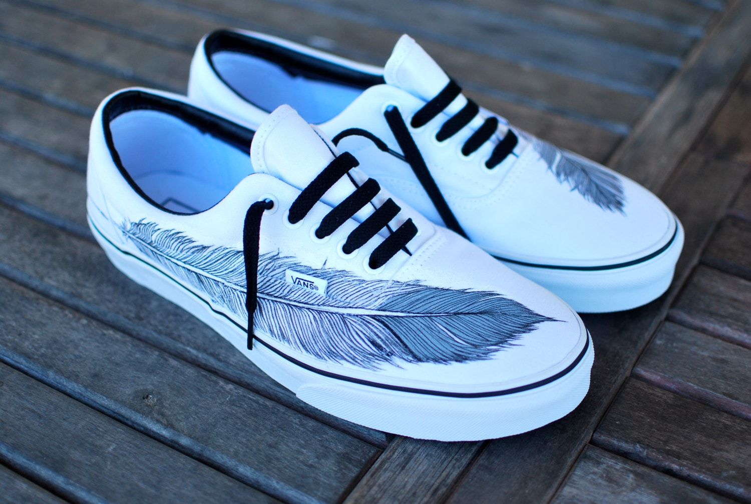 fetching how to design converse shoes at home.  Hand Painted Native Eagle Feather on White Vans Era shoes