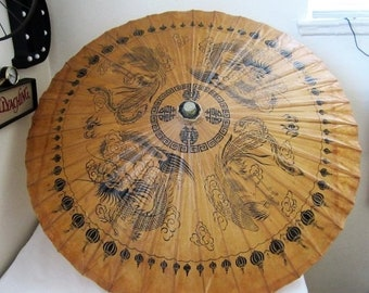 ON SALE Vintage Japanese Umbrella Parasol Bamboo Asian Decor Chinese Dragon Rooster Zodiac Signs