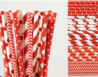 Red Paper Straws Mix-Red Straws-Polka Dot Straws-Chevron Straws-Striped Straws-Party Straws-Valentines Day Straws-Wedding Straws-Paper Straw