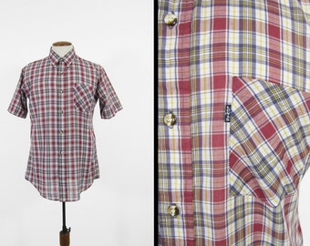 Vintage Levi's Plaid Shirt Short Sleeve Button Up Tapered Fit - Large