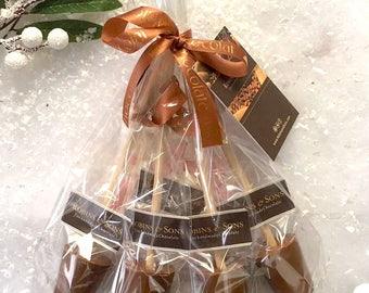 Luxury Gourmet Belgian Hot Chocolate spoons / Hot Cocoa Stirrer / milk chocolate stirrer Gift Set Kit with marshmallows (4 pk)