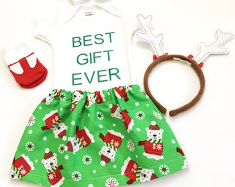 Best Gift Ever Skirt Set, Newborn Xmas Outfit, My First Xmas Outfit, Newborn Christmas Outfit, Newborn Holiday Outfit, Newborn Skirt Set
