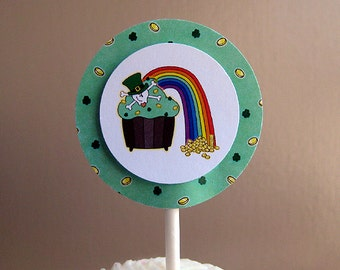 st patrick's day or birthday party pot of gold and rainbow skull cupcake personalized cupcake cake toppers decorations - set of 12