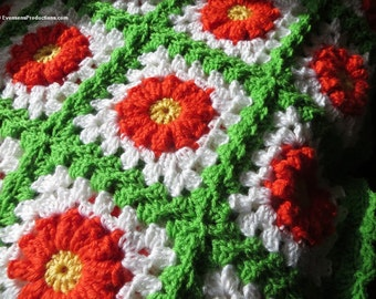 """Large Afghan Blanket - Delicious Citrus Colors Orange Lemon Lime Sherbet - Hospice Bed Couch All Ages  - 64""""x52"""" - Hand Made USA Item 4503"""
