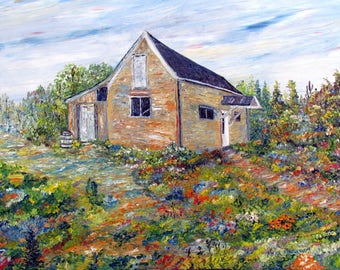 Figurative work. Oil on canvas. Spatula. Texture. Barn. Flowers. Abstract texture. Color. Art