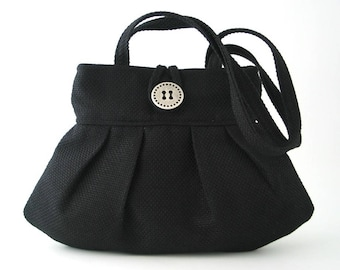 black handbag, shoulder bag, black purse, fabric handbag, pleated bag, small tote bag, fabric purse