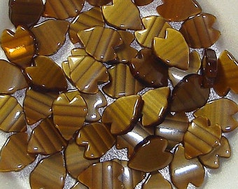 Vintage Lucite Leaves Petals Brown