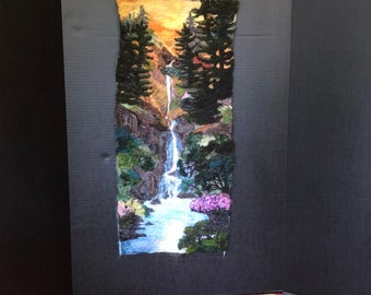 Mystic Waterfall  -Felted Wool Painting