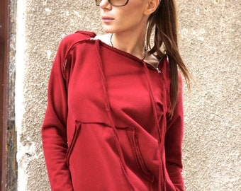 SALE NEW Spring Burgundy  Extravagant  Asymmetric Cotton Sweatshirt /Thumb holes sexy zipper on shoulders / Front Pocket  by AAKASHA A08310
