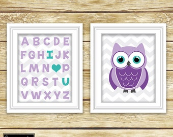 I Love Heart You Alphabet Teal Purple Owl Wall Art Nursery Girl's Room Decor ABC's Printable Set of 2 8x10 Digital JPG Instant Download- 54