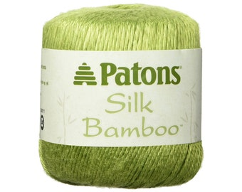 MOSS Silk Bamboo. Patons Silk Bamboo. DK lightweight yarn. Shiny Light Pea Green Color. Bamboo Silk blend. Great drape and shine. 2.2oz <