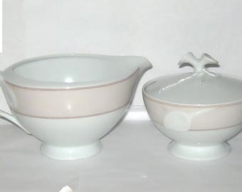 Hutschenreuther Germany Fleuron CHLOE Creamer and Sugar Bowl w Lid Pink and White