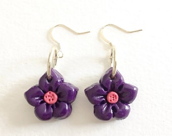 Flower Earrings - Small purple and pink floral polymer clay dangle earrings