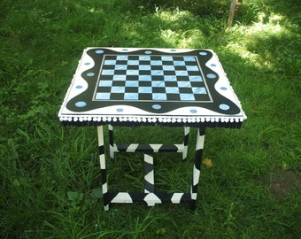 Marble patio table etsy hand painted blue silverfaux marble gamey cow table perfect for porch watchthetrailerfo