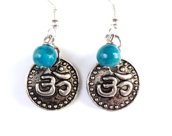 Om Earrings Yoga Jewelry Namaste Crazy Agate Gemstone Bohemian Harmony Meditation Unique Gift for Her Mothers Day Under 20 Item Y80