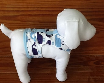 Dog Harness Vest Blue and White Whale
