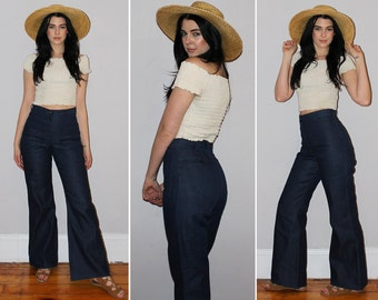 "Vintage 70s HIGH WAISTED Jeans / Sailor Pants / RAW Denim / Super Dark Blue Wash / Bell Bottom, Flares / Boho, Festival / 25"" Waist"