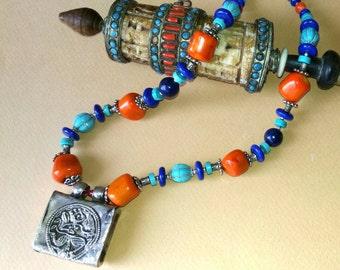 PRAISING Hanuman. :rare Rahjastani  amulet on a  coral,turquoise and lapis  necklace
