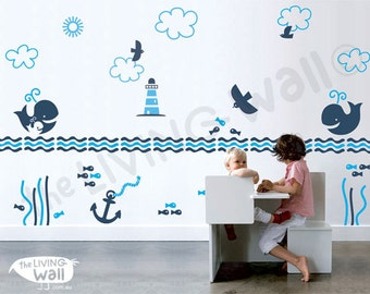 Nautical Theme Wall Decal, Ocean Nursery Wall Stickers  Sailboat Wall Decor Australian made