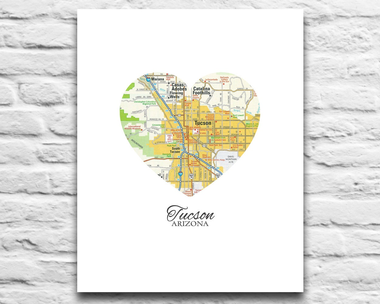 Tucson arizona love map print vintage heart map digital zoom gumiabroncs Gallery
