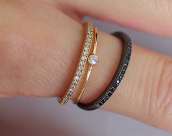 The dainty solitaire diamond stacking ring