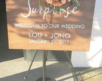 XL 90x60 Suprise Wedding Sign, Custom Wedding Sign, Wedding Wooden Sign, Wedding Welcome Sign, Wedding Date Sign, Wedding Print, Photo Prop