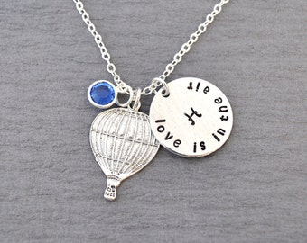 hot air balloon initial birthstone necklace, love is in the air, Up Up and Away, hand stamped necklace initial necklace,personalized jewelry