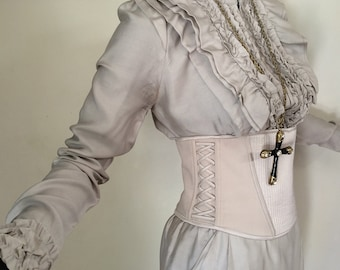 Rare Vintage BALLY Couture Dress Lace Up Corset Ruffle Tuxedo Styling High Fashion Designer Gothic Steampunk Wedding Gown Made in Italy
