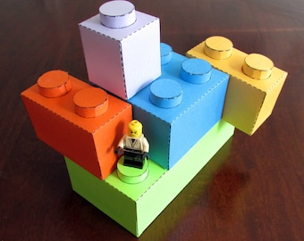 Large Paper Building Blocks - prints on colored paper for any color blocks you want