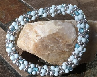 Powder Blue Silver Beaded Bracelet