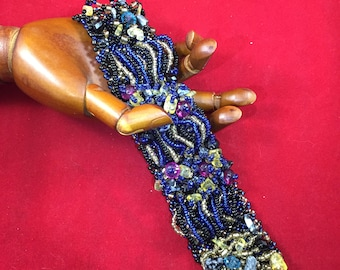 Handmade Embroidered Blue, Fuschia and Champagne Beaded and Gemstone Bracelet
