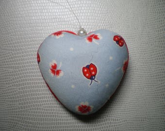 heart hanging patchwork fabric covered styrofoam