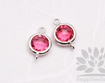 F124-S-RB// Rhodium Plated Ruby Rounded Glass Pendant Connector, 2 pcs