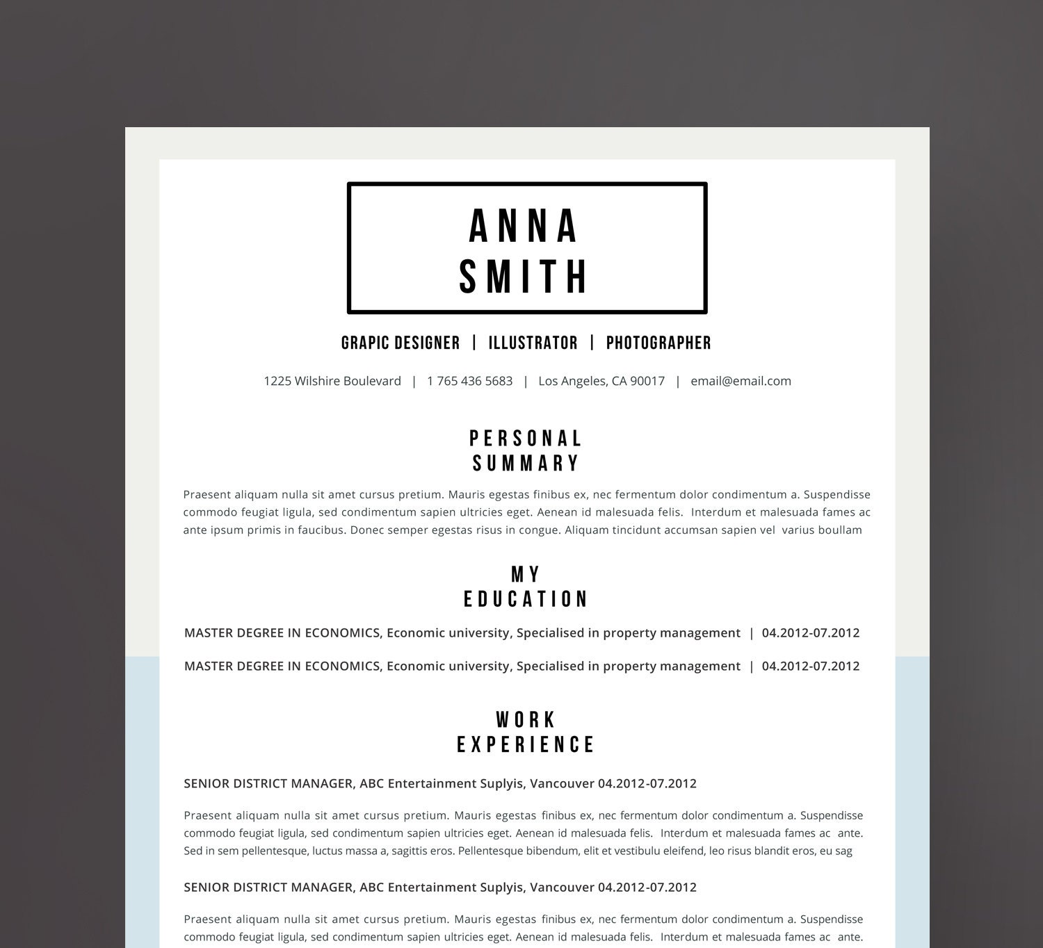 7 Free Resume Templates: Resume Template No.7 Cover Letter Reference Page / Free