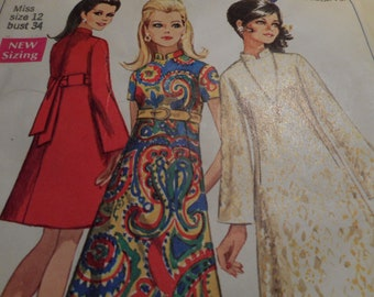 Vintage 1960's Simplicity 7897 Dress Sewing Pattern Size 12 Bust 34