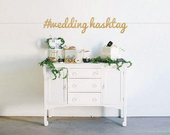 Custom Wedding Hashtag Premium Glitter Banner - Wedding - Engagement - Bridal Shower - Bachelorette - Custom Text - Wedding Hashtag # Bridal