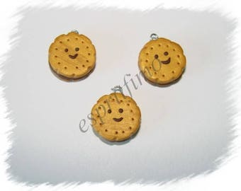 """""""Smiling cookie biscuit chocolate"""" charm in polymer clay"""