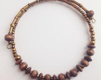 Eco Friendly Minimalist Bracelet Wood Gold & Bronze