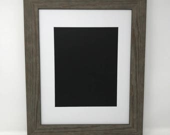 """16x20 1.75"""" Rustic Grey Solid Wood Picture Frame with White Mat Cut for 11x14 Picture"""