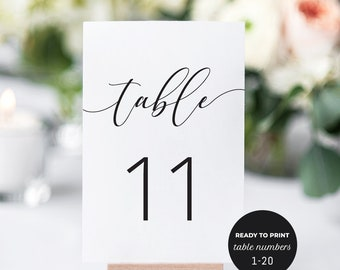 Table Number Cards. Printable Table Numbers 1-20. Wedding Table Numbers Template, DIY Wedding Table Number Cards, Calligraphy Table Numbers