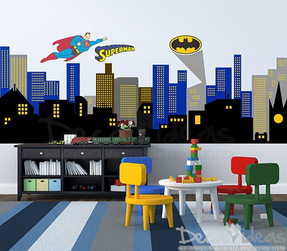 City Silhouette Wall Decal City Buildings Wall Decal Boys - Superhero wall decals for boys