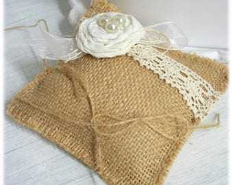 Cushion pillow for wedding burlap and cotton flower