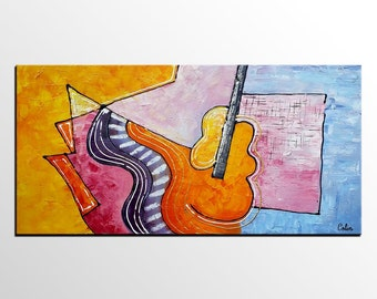 Original Art, Music Painting, Wall Art, Canvas Art,  Large Art, Abstract Art, Oil Painting, Canvas Painting, Abstract Painting, Violin Art