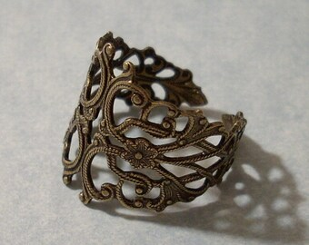 Adjustable Band Floral Filigree Ring, Brass Ring, Oxidized Brass Ring, Floral Ring