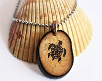 Sea Turtle Necklace, Reclaimed Wood Necklace, Wooden Branch Pendant, Ecofriendly Rustic Handmade Sustainable Jewelry by Hendywood
